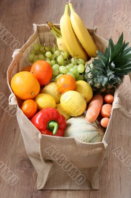 Assortment of fruit and vegetable in eco bag