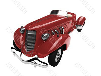solated vintage red car front view