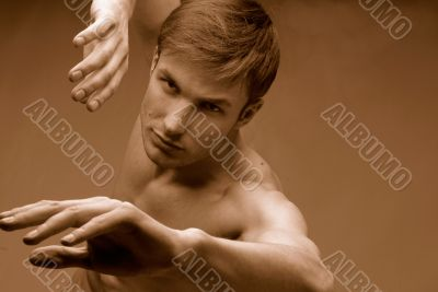 Muscular male torso, sports exercises