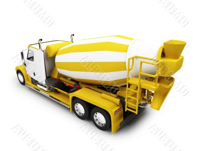 Concrete mixer isolated back view with clipping path