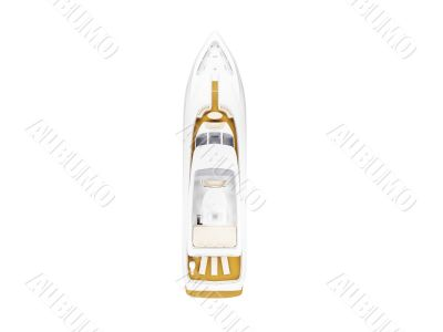 Big yacht isolated top view