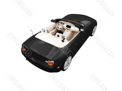 isolated black car back view 01