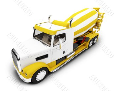 Concrete mixer isolated front view with clipping path
