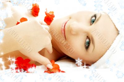 red flower petals spa with snowflakes 3