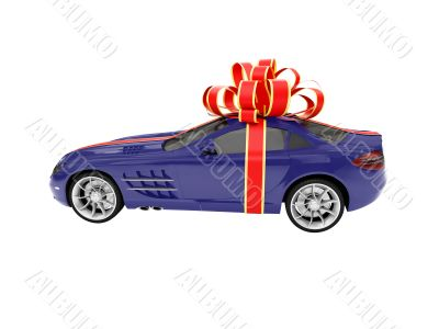 Gift isolated blue car side view