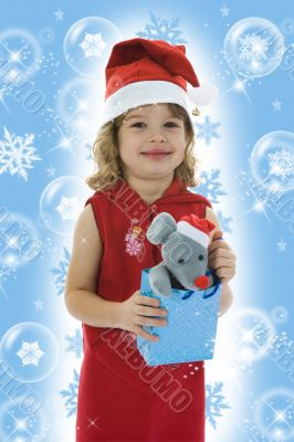 Beautiful little girl with christmas decoration