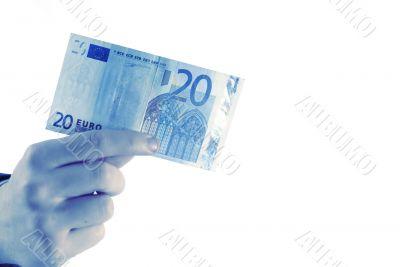 20 euro in hand, horizontal