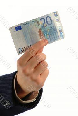 20 euro in hand, vertical