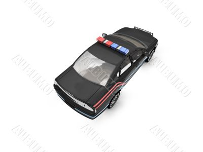 isolated black police car back view 02
