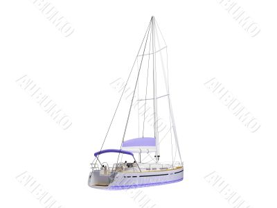 Vessel boat isolated back view