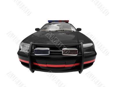 isolated black police car front view 02