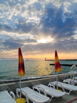 Sunset And Umbrellas