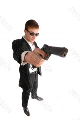 man with  weapon