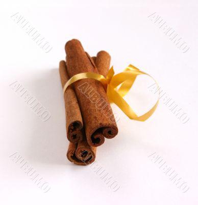 Cinamon - three sticks on white