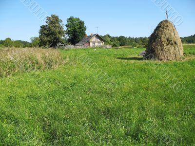 village, meadow, hayfield