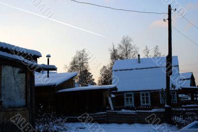 cold winter evening in village