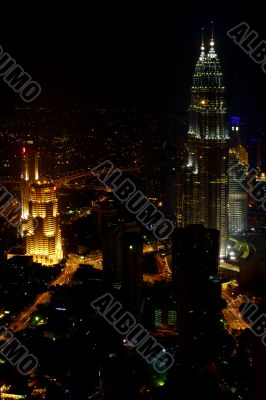 aerial view of Kuala Lumpur at night