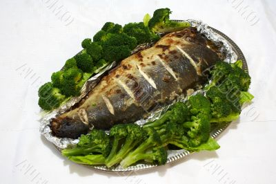 Baked pink salmon served with broccoli 2