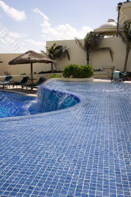 Blue Tile Curved Pool