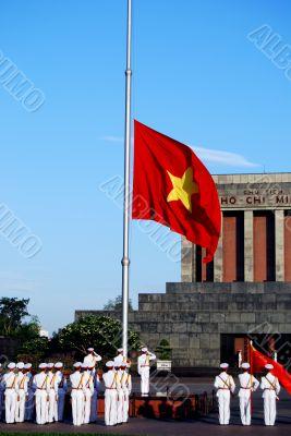 Flag of Vietnam in morning