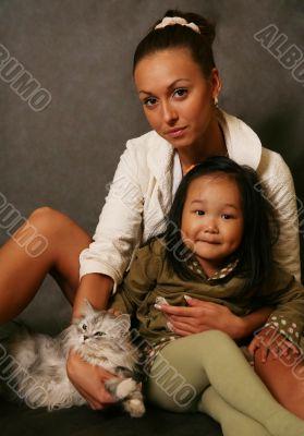 Korean girl and Russian woman
