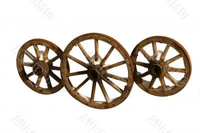 Three wooden wheels.