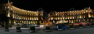Night view of Republica square, rome