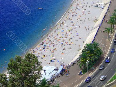 The beach in Nice, France.