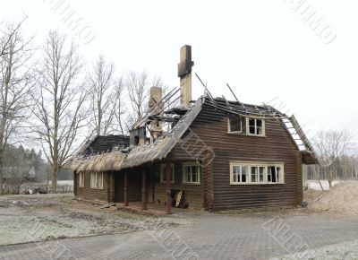 Fire disaster - roof of house