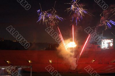 Fireworks lighting a stadium