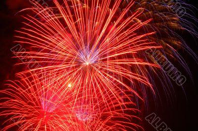 Fireworks lighting the skies