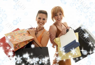 shopping girls with snowflakes