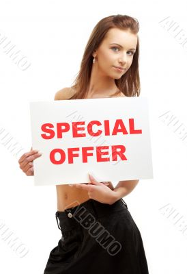 lovely girl holding special offer board