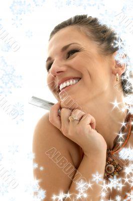 happy consumer with snowflakes