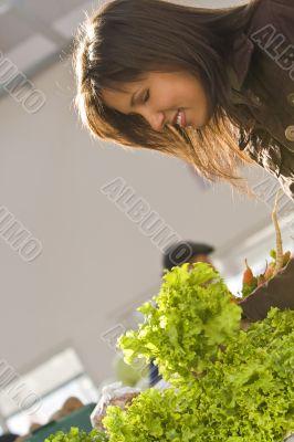 Woman buying salad