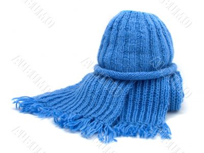 Warm knitted scarf and cap