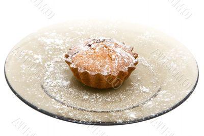 Tasty cherry cake with sugar powder