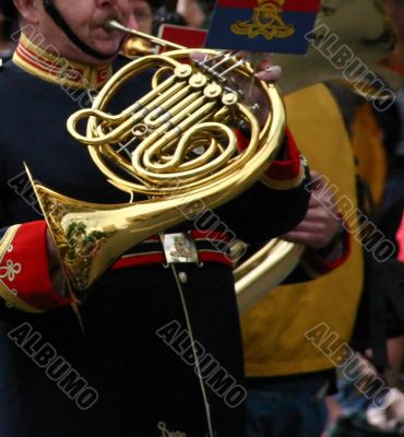 Horn player,  marching band