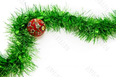Christmas Time: Isolated Tinsel and Bauble
