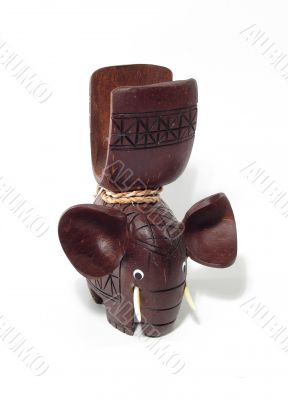 Brown wooden elephant