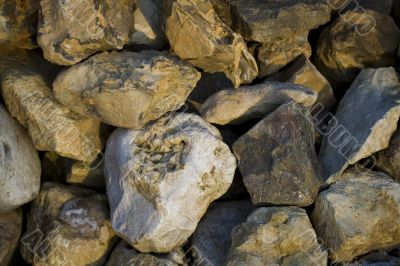 several big splitted stones with sharp edges