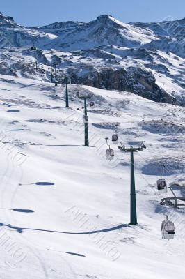 Cable car ski lift in the mountains