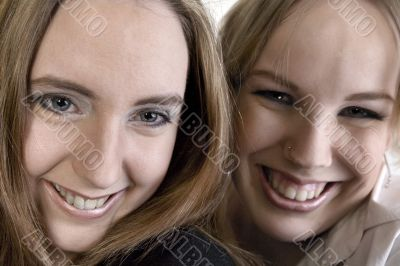 Portrait of two laughing women