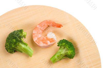 Shrimp and Broccoli On Bamboo