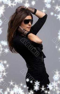 party dancer in black dress with snowflakes