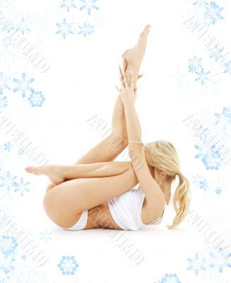 blond in white underwear practicing yoga