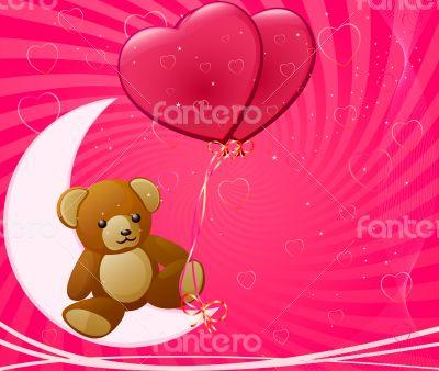Vector illustration of shine pink hearts
