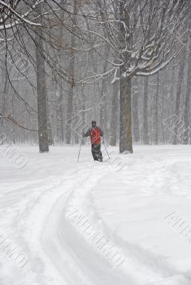 Man skiing in a fresh snow