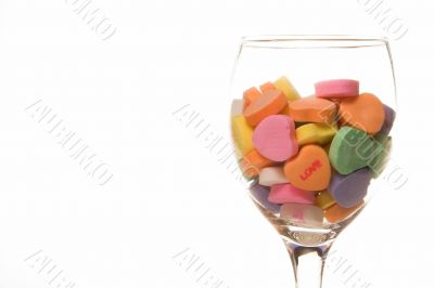 Conversation Hearts in a Wine Glass