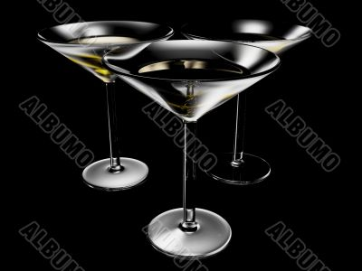 cocktail glass on black background
